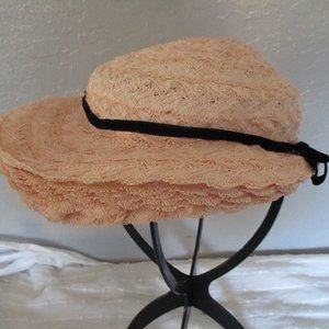 Light peach vintage straw hat